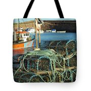 lobster pots and trawlers at Dunbar harbour Tote Bag