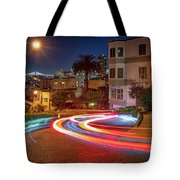 Lombard Street And The Bay Bridge Tote Bag