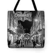 London Nightlife Carnaby Street London Uk United Kingdom Black And White Tote Bag