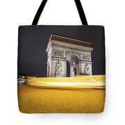 Long Exposure Picture Of Paris Arch De Triomphe At Night   Tote Bag