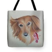 Long Haired, Miniature Dachshund Tote Bag