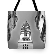 Looking Up - City Hall Court Yard In Black And White Tote Bag