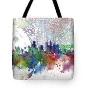Los Angeles Skyline Map Watercolor 3 Tote Bag