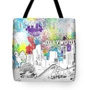 Los Angeles Skyline Panorama Watercolor Tote Bag