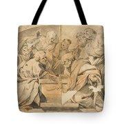 Los Apostoles Ante El Sepulcro Vacio De La Virgen  Tote Bag