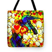 Love Birds In The Love Tree With Hibiscus Tote Bag