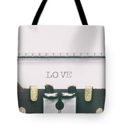 Love Word In Capital Letters On A Typewriter Sheet Tote Bag