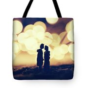 Loving Couple Standing In A Cozy Winter Scenery. Tote Bag