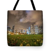 Low Angle Picture Of Downtown Chicago Skyline During Winter Nigh Tote Bag