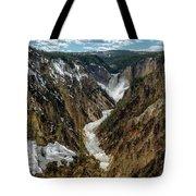 Lower Falls In Yellowstone Tote Bag