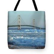 Mackinac Bridge In Ice 2161801 Tote Bag by Rick Veldman