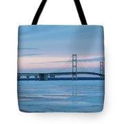 Mackinac Bridge In Ice 2161803 Tote Bag by Rick Veldman