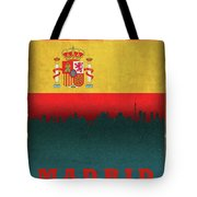 Madrid Spain City Skyline Flag Tote Bag