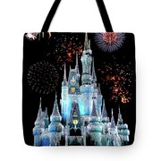 Magic Kingdom Castle In Frosty Light Blue With Fireworks 06 Tote Bag