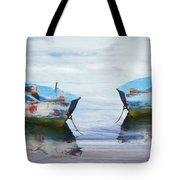 Make It A Double Watercolors Painting With Wood Textures Tote Bag by Debra and Dave Vanderlaan