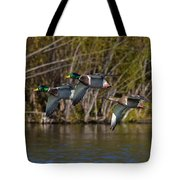 Mallards Flying By Tote Bag