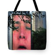 Man Face Crown Fountain Chicago Tote Bag
