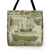 Man Of War Ship Diagram - German - 18th Century Tote Bag