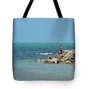 Man On Rocks Looks Out To Ocean From Rocky Beach Jaffna Peninsula Sri Lanka Tote Bag