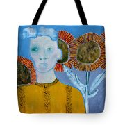 Man With Sunflowers Tote Bag