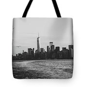 Manhatta, New Jersey And The Statue Of Liberty Tote Bag