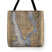 Manhattan New York Antique Map Brooklyn Hand Painted Tote Bag