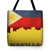 Manilla Philippines City Skyline Flag Tote Bag