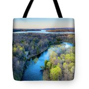 Manistee River And Hodenpyle Dam Aerial Tote Bag