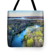 Manistee River Evening Aerial Tote Bag