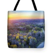 Manistee River Sunset Aerial Tote Bag
