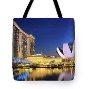 Marina Bay Sands Art Science Museum And Helix Bridge At Dusk Singapore Tote Bag