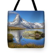 Matterhorn From Lake Stelliesee 07, Switzerland Tote Bag