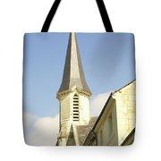 medieval church spire in France Tote Bag
