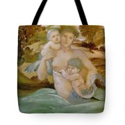 Mermaid With Her Offspring Tote Bag