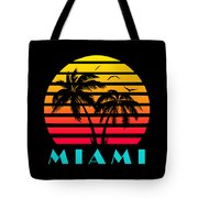 Miami 80s Tropical Sunset Tote Bag