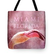 Miami Florida- Pink Flamingo Tote Bag