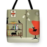 Mid Century Bookcase Room Tote Bag by Donna Mibus