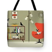 Mid Century Bookcase Room With Siamese Tote Bag by Donna Mibus