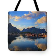 Midnight Sun Falls Upon The Village Of Reine Tote Bag