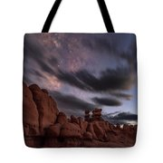 Milky Way Rises Over Goblins Tote Bag