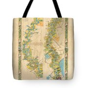 Mississippi River Historic Map Lousiana New Orleans Baton Rouge Map Farming Plantation Hand Painted  Tote Bag