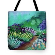 Misty Garden Path Tote Bag by Jacqueline Athmann