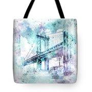 Modern Art Nyc Manhattan Bridge - Jazzy Watercolor Tote Bag