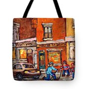 Molly And Bill's Duluth Near Coloniale And St Dominique C Spandau Plateau Mont Royal Hockey Artist  Tote Bag