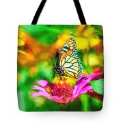Monarch Butterfly Impasto Colorful Tote Bag by Don Northup