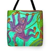 Monkeys On Creepers Tote Bag