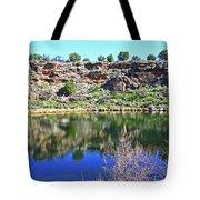 Montezuma's Well Az Water Blue Sky Reflections Stone Wall 3192019 5253. Tote Bag