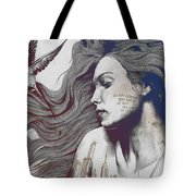 Monument - Red 'n Blue - Sleeping Beauty, Woman With Skyline Tattoo And Bird Tote Bag