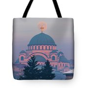 Moon In The Cross Of The Magnificent St. Sava Temple In Belgrade Tote Bag