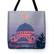 Moon On Top Of The Cross Of The Magnificent St. Sava Temple In Belgrade Tote Bag